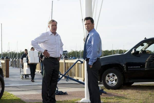 "BURN NOTICE -- ""Mixed Messages"" Episode 601 -- Pictured: (l-r) John C. McGinley as Card, Jeffrey Donovan as Michael Westen -- (Photo by Glenn Watson/USA Network)"