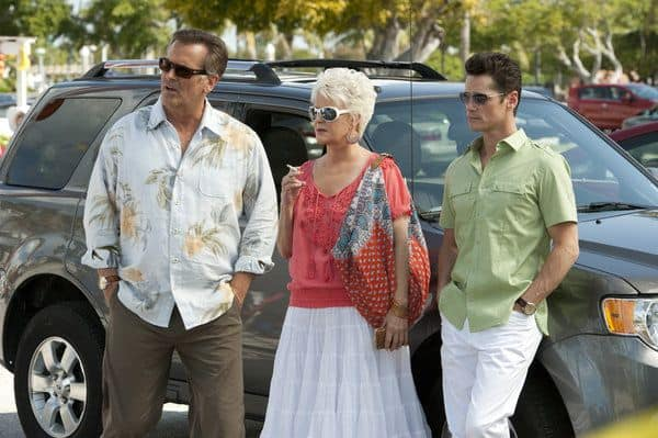 "BURN NOTICE -- ""Last Rites"" Episode 603 -- Pictured: (l-r) Bruce Campbell as Sam Axe, Sharon Gless as Madeline Westen, Seth Peterson as Nate Westen -- (Photo by Glenn Watson/USA Network)"