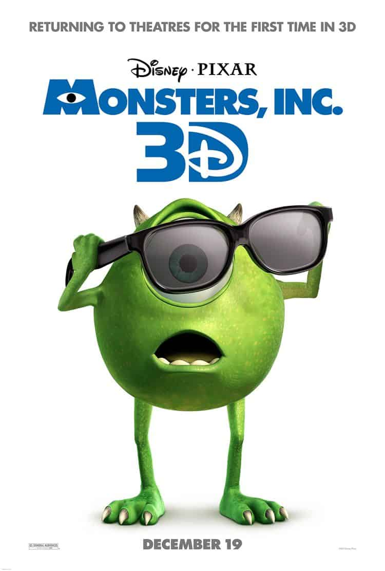 Monsters Inc 3D Movie Poster