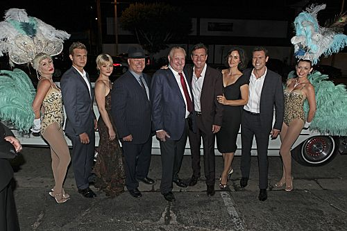 Pictured (l-r); Taylor Handley; Sarah Jones; Michael Chiklis; Sheriff Ralph Lamb; Dennis Quaid; Carrie-Anne Moss; and Jason O' Mara of VEGAS. Stars from CBS' new and returning shows celebrate the new television season at the CBS 2012 Fall Premiere Party, Tuesday, Sept.17 at Greystone Manor in Los Angeles, Ca. Photo: Monty Brinton/CBS ©2012 CBS Broadcasting Inc. All Rights Reserved.