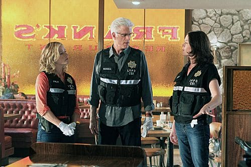 """Code Blue Plate Special"" --Julie Finlay (Elisabeth Shue, left) and D.B. Russell (Ted Danson, middle) listen as Sara Sidle (Jorja Fox) explains what she believes happened at the diner in this scene on CSI: CRIME SCENE INVESTIGATION, Wednesday, Oct. 10 (10:00 PM-11:00 PM, ET/PT) on the CBS Television Network. Photo: Sonja Flemming/CBS ©2012 CBS Broadcasting, Inc. All Rights Reserved."