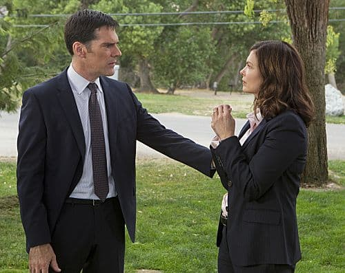 """œThe Silencer"" ""Hotch (Thomas Gibson) and newest BAU member Alex Blake (Jeanne Tripplehorn) talk as they investigate the murder of a victim with the trademark handiwork of the UnSub ""The Silencer,"" who leaves behind victims with his unique trademark of sewing their mouths shut, on the eighth season premiere of CRIMINAL MINDS, Wednesday, Sept. 26 (9:00-10:00 PM, ET/PT) on the CBS Television Network. Photo: Monty Brinton/CBS © 2012 CBS Broadcasting Inc. All Rights Reserved."