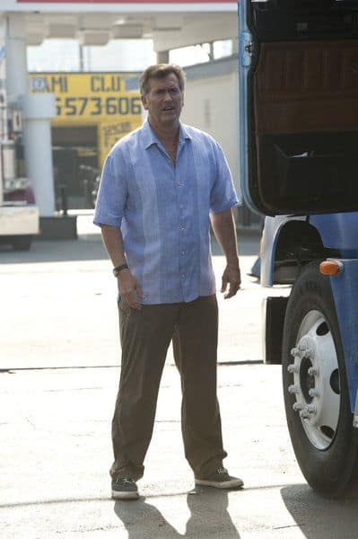 "BURN NOTICE -- ""Scorched Earth"" Episode 602 -- Pictured: Bruce Campbell as Sam Axe -- (Photo by Glenn Watson/USA Network)"