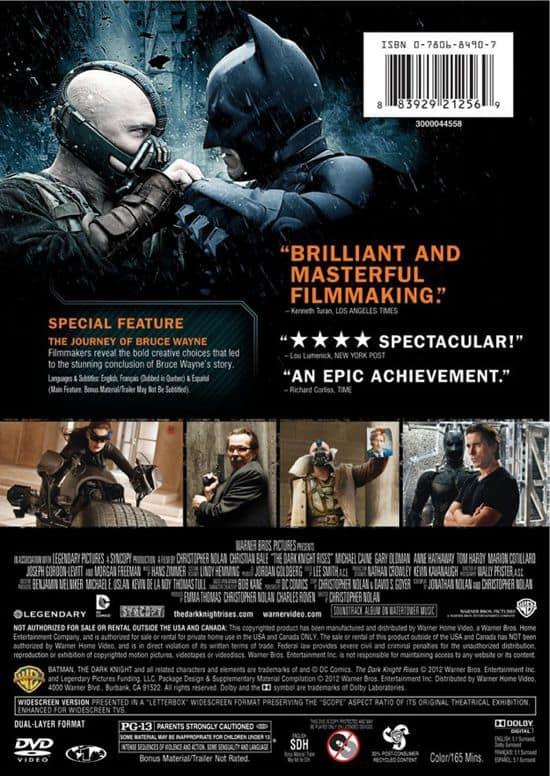 The Dark Knight Rises DVD Back