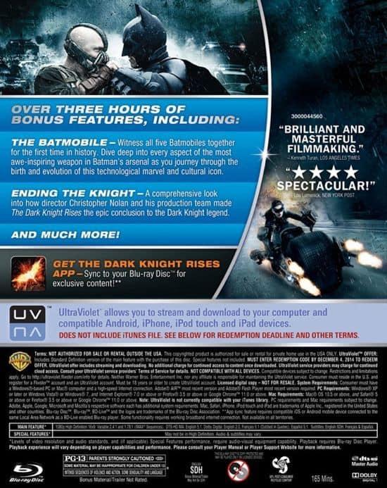 The Dark Knight Rises Bluray Back Cover