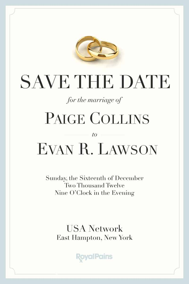 ROYAL PAINS Save The Date Invitation