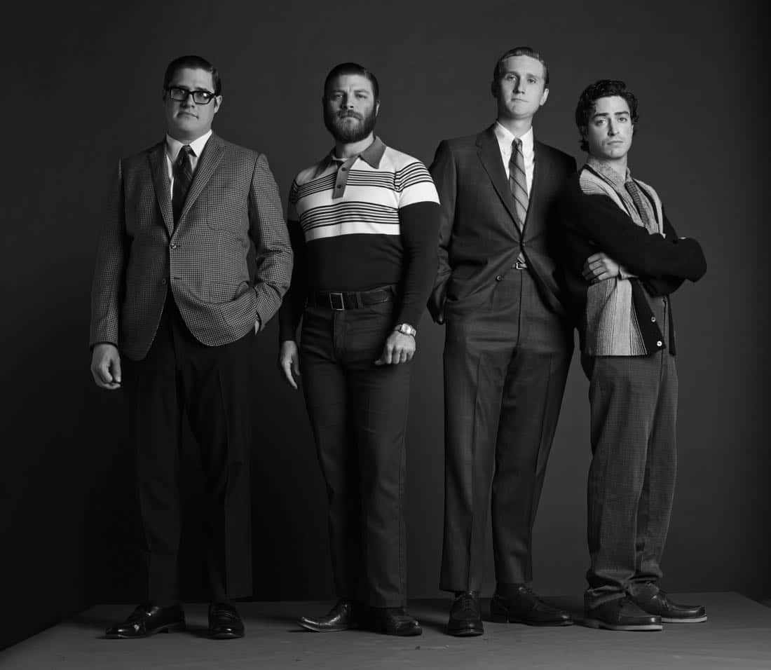 Harry Crane (Rich Sommer), Stan Rizzo (Jay R. Ferguson), Ken Cosgrove (Aaron Staton) and Michael Ginsberg (Ben Feldman) - Mad Men_Season 6, Gallery - Photo Credit: Frank Ockenfels/AMC