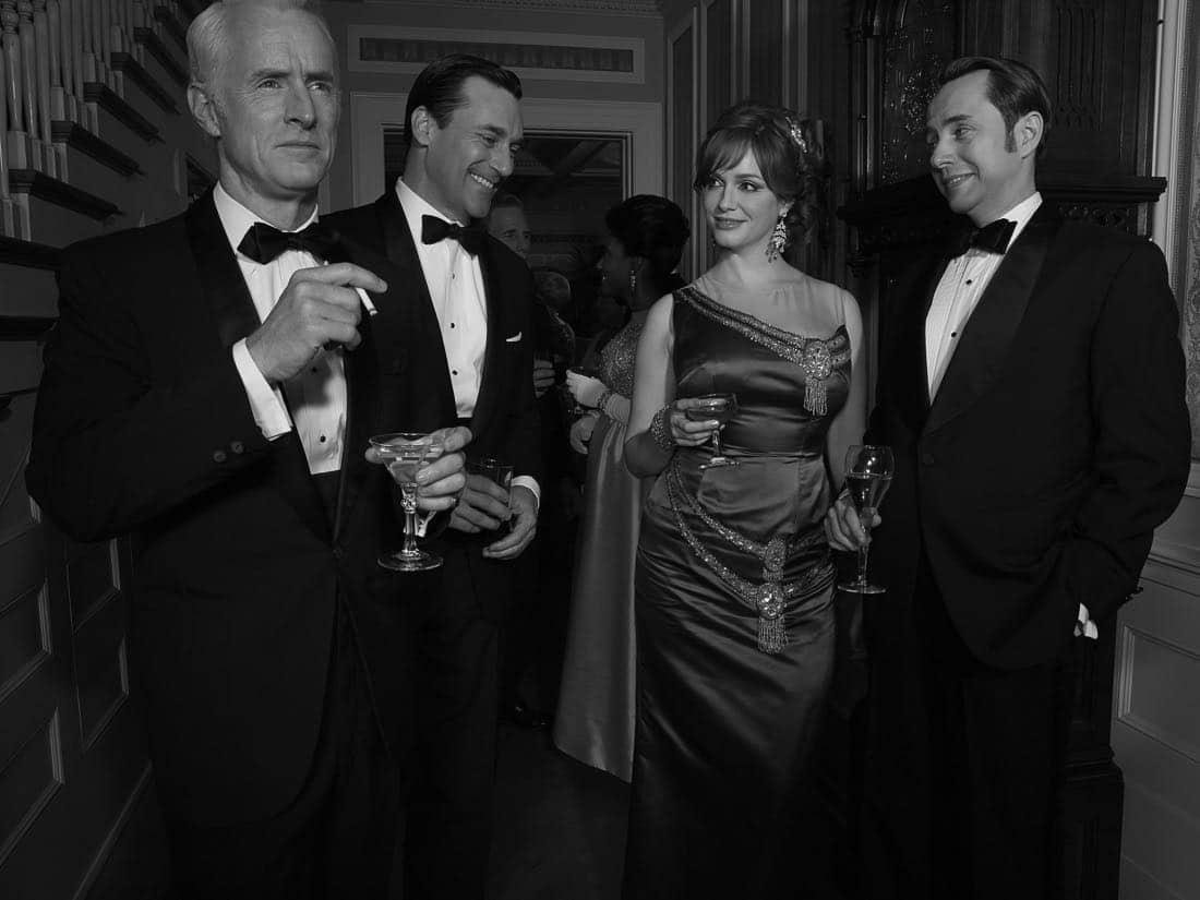Roger Sterling (John Slattery), Don Draper (Jon Hamm), Joan Harris (Christina Hendricks) and Pete Campbell (Vincent Kartheiser) - Mad Men_Season 6, Teaser Gallery - Photo Credit: Frank Ockenfels/AMC