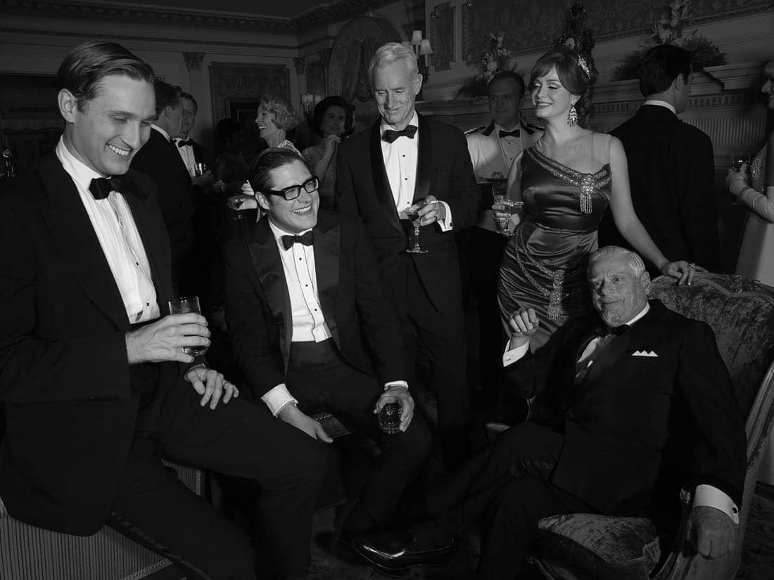 Ken Cosgrove (Aaron Staton), Harry Crane (Rich Sommer), Roger Sterling (John Slattery), Joan Harris (Christina Hendricks) and Bertram Cooper (Robert Morse) - Mad Men_Season 6, Teaser Gallery - Photo Credit: Frank Ockenfels/AMC