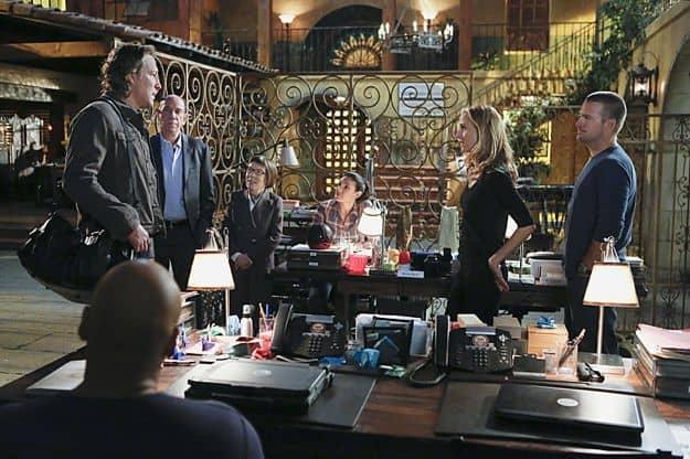 "Roy (John Corbett), Miguel Ferrer (NCIS Assistant Director Owen Granger), Linda Hunt (Henrietta ""Hetty"" Lange), Daniela Ruah (Special Agent Kensi Blye), Paris (Kim Raver) and Chris O'Donnell (Special Agent G. Callen)"