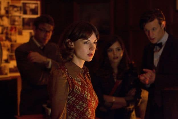 Doctor Who, Season 7.2, Episode 4, Alec Palmer (Dougray Scott), Emma Grayling (Jessica Raine), Clara (Jenna-Louise Coleman), and the Doctor (Matt Smith)