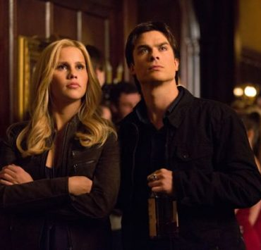 Claire Holt as Rebekah and Ian Somerhalder as Damon