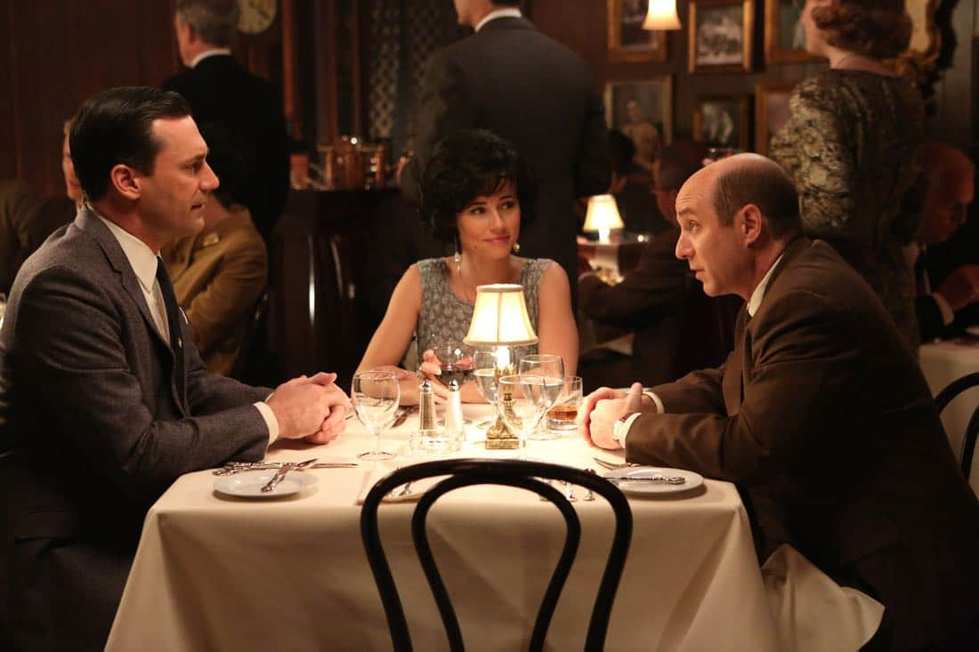 "Don Draper (John Hamm), Sylvia Rosen (Linda Cardellini) and Arnold Rosen (Brian Markinson) - Mad Men_Season 6, Episode 3_""The Collaborators"" - Photo Credit: Michael Yarish/AMC"