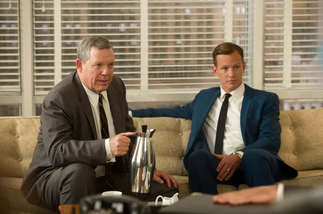 "Raymond Geiger (John Sloman) and Tim Jablonski (Kip Pardue) - Mad Men_Season 6, Episode 3_""The Collaborators"" - Photo Credit: Ron Jaffe/AMC"
