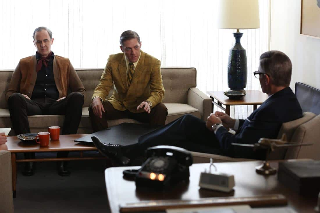 "Frank Gleason (Craig Anton), Ted Chaough (Kevin Rahm) and Jim Cutler (Harry Hamlin) - Mad Men_Season 6, Episode 6_""For Immediate Release"" - Photo Credit: Michael Yarish/AMC"