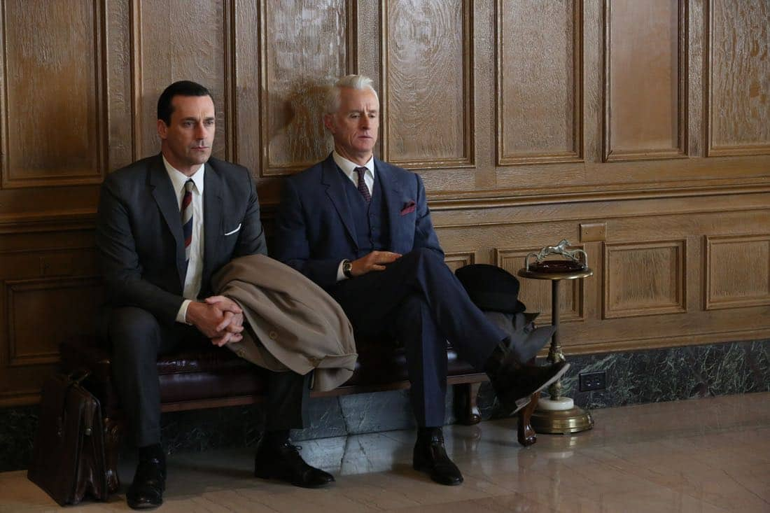 "Don Draper (Jon Hamm) and Roger Sterling (John Slattery) - MMad Men_Season 6, Episode 6_""For Immediate Release"" - Photo Credit: Michael Yarish/AMC"
