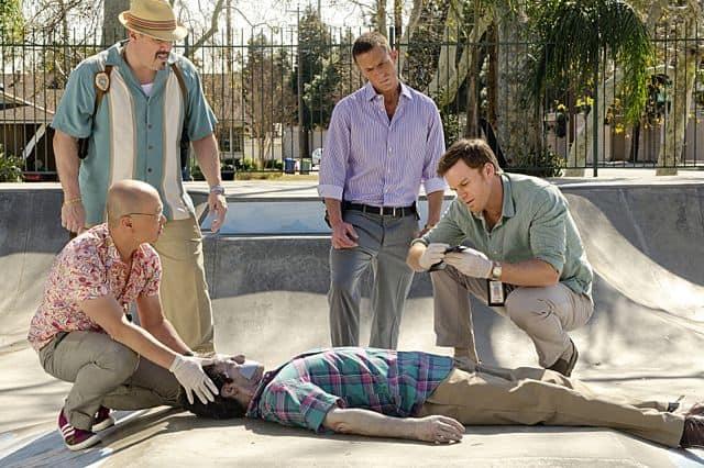 David Zayas as Angel Batista, Desmond Harrington as Joey Quinn, C.S. Lee as Vince Masuka and Michael C. Hall as Dexter Morgan in Dexter