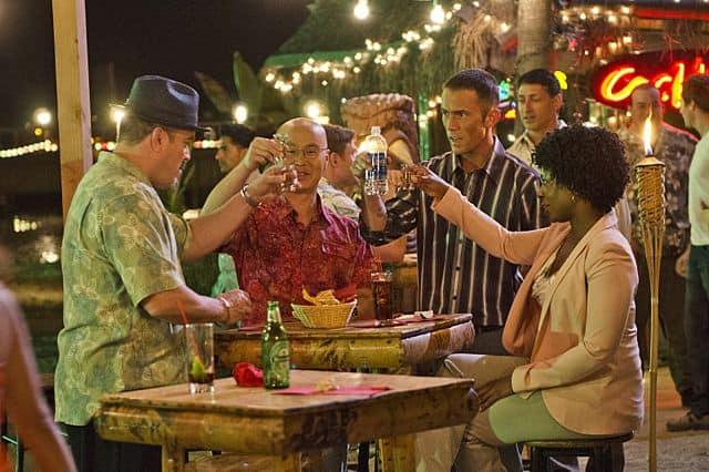 Dana L. Wilson as Detective Angie Miller, Desmond Harrington as Joey Quinn, C.S. Lee as Vince Masuka and David Zayas as Angel Batista in Dexter