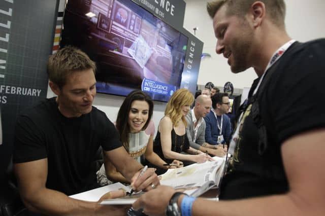 Josh Holloway, Meghan Ory, Marg Helgenberger, Tripp Vinson and Michael Seitzman during the Intelligence Booth Signing at COMIC - CON 2013, held in San Diego, Ca.