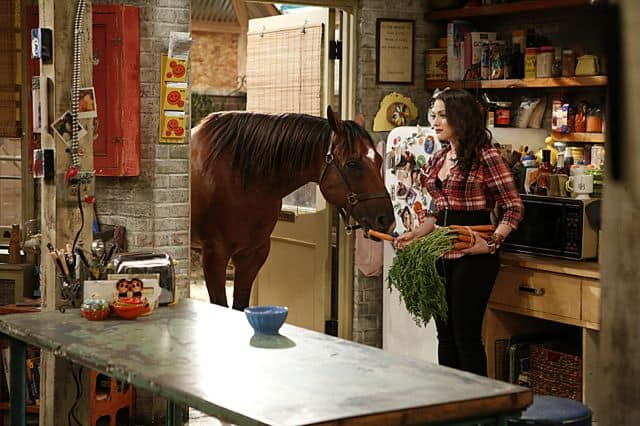 Chestnut the horse and Max Black (Kat Dennings) 2 Broke Girls