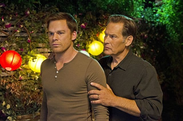 James Remar as Harry Morgan and Michael C. Hall as Dexter Morgan in Dexter (Season 8, episode 10)