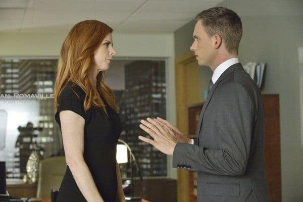 Sarah Rafferty as Donna Paulsen, Patrick J. Adams as Michael Ross Suits