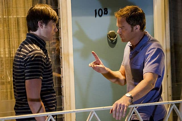 Sam Underwood as Zach Hamilton and Michael C. Hall as Dexter Morgan in Dexter
