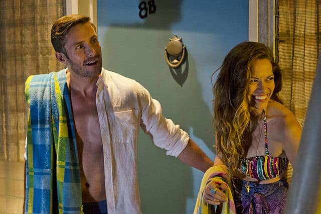 Darri Ingolfsson as Saxon and Bethany Joy Lenz as Cassie in Dexter
