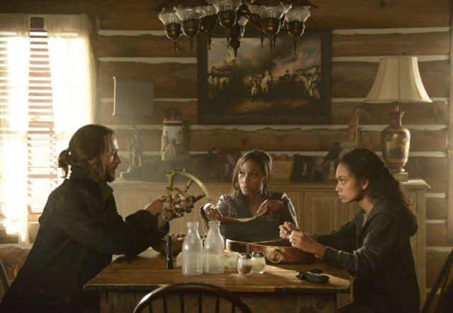 "Lt. Abbie Mills (Nicole Beharie, C) and Ichabod Crane (Tom Mison, L) find Abbie's estranged sister, Jenny (guest star Lyndie Greenwood, R), in ""The Lesser Key of Solomon"" episode of SLEEPY HOLLOW"