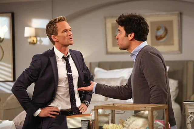 Barney (Neil Patrick Harris) takes his frustrations out on Ted (Josh Radnor) during the best man poker game