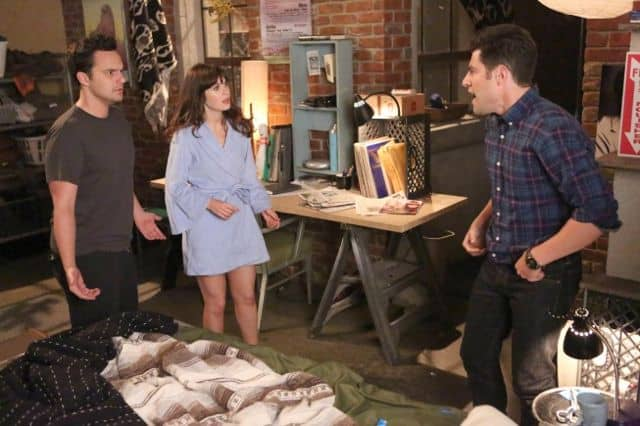 NEW GIRL: Schmidt (Max Greenfield, R) tries to destroy Jess (Zooey Deschanel, C) and Nick's (Jake Johnson, L) relationship