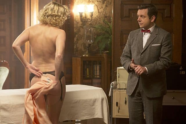 Nicholle Tom as Maureen and Michael Sheen as Dr. William Masters in Masters of Sex (season 1, episode 2)