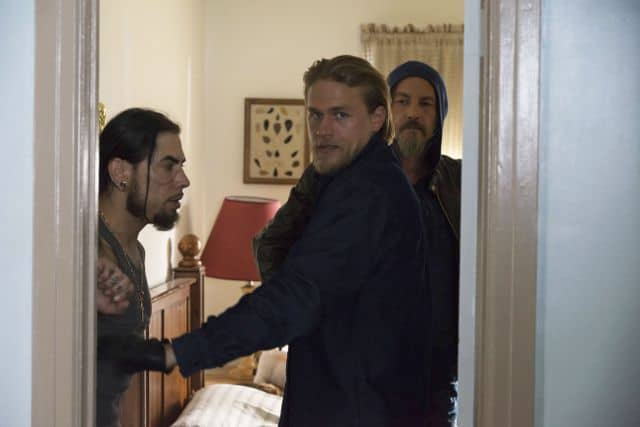 Dave Navarro as Arcadio, Charlie Hunnam as Jackson 'Jax' Teller, Tommy Flanagan as Filip 'Chibs' Telford Sons Of Anarchy