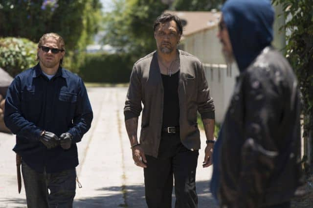 Charlie Hunnam as Jackson 'Jax' Teller, Jimmy Smits as Nero Padilla, Tommy Flanagan as Filip 'Chibs' Telford