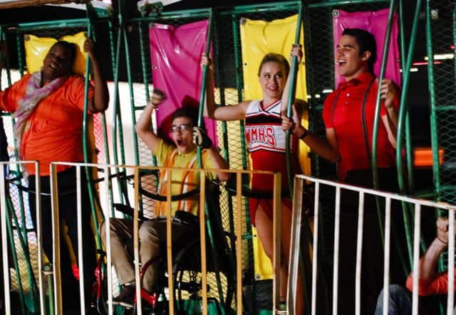 Unique (Alex Newell), Artie (Kevin McHale), Kitty (Becca Tobin) and Blaine (Darren Criss) Glee