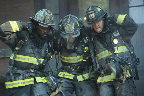 "Eamonn Walker as Battalion Chief Wallace Boden, Taylor Kinney as Kelly Severide, Christian Stolte as Randy ""Mouch"" McHolland Chicago Fire - Season 2"