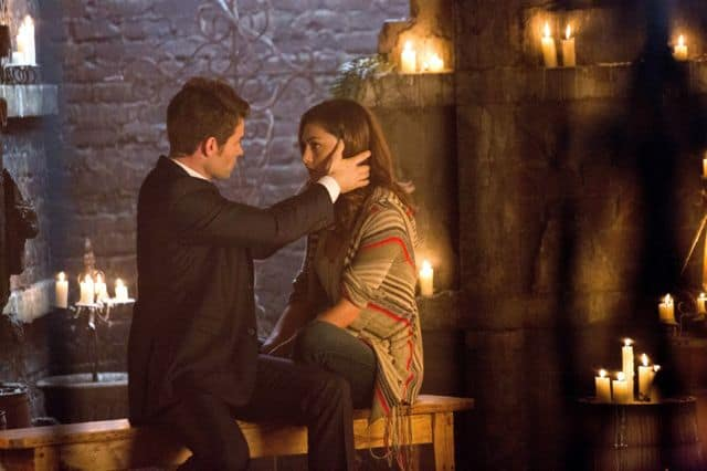 Daniel Gillies as Elijah and Phoebe Tonkin as Hayley