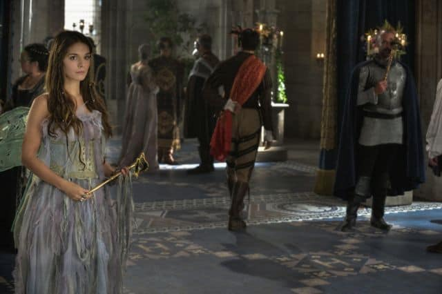 Caitlin Stasey as Kenna and Alan Van Sprang as King Henry Reign Hearts and Minds
