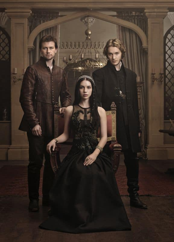 Torrance Coombs as Bash, Adelaide Kane as Mary, Queen of Scots, and Toby Regbo as Prince Francis REIGN