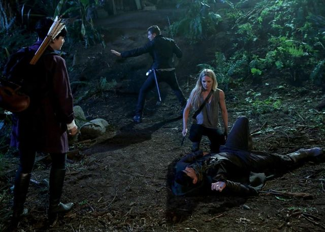 GINNIFER GOODWIN, JOSH DALLAS, CAINAN WIEBE (ON GROUND), JENNIFER MORRISON