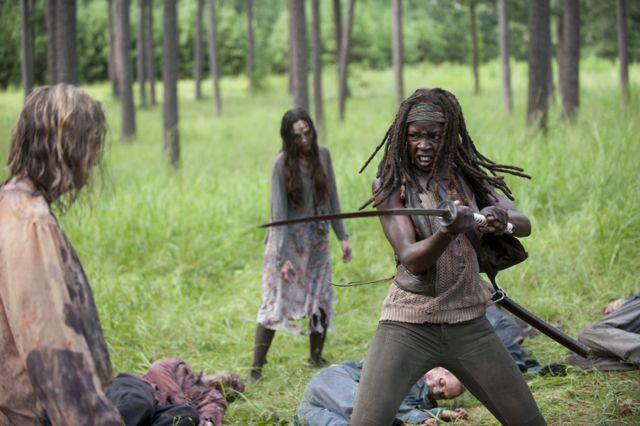 Walkers and Michonne (Danai Gurira) - The Walking Dead _ Season 4, Episode 9