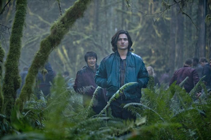 The 100 Chris Larkin as Monty and Thomas McDonell as Finn