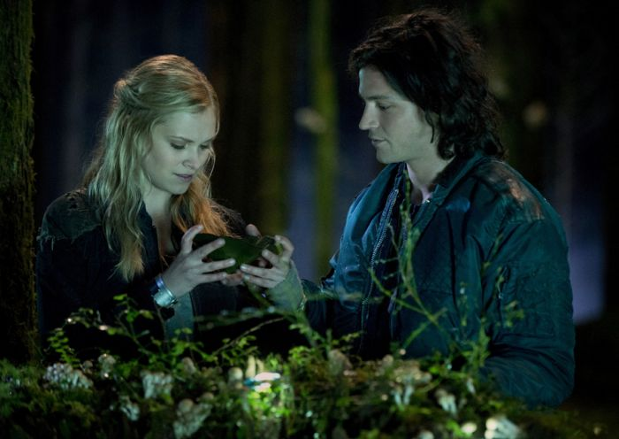 The 100 Eliza Taylor as Clarke, and Thomas McDonell as Finn