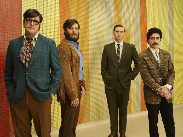 Harry Crane (Rich Sommer), Stan Rizzo (Jay R. Ferguson), Ken Cosgrove (Aaron Staton) and Michael Michael Ginsberg (Ben Feldman) Mad Men Season 7