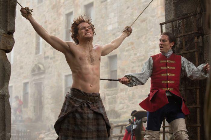 Outlander 2014 Jamie Fraser (Sam Heughan); Captain Black Jack Randall (Tobias Menzies)