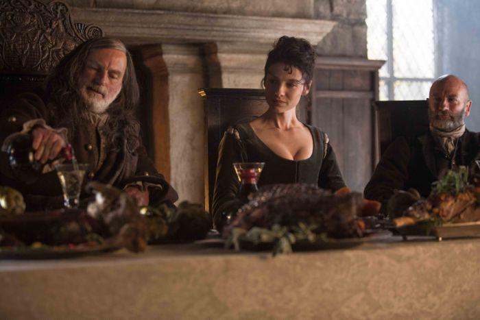 Outlander 2014 Colum MacKenzie (Gary Lewis); Claire Randall (Caitriona Balfe); Dougal MacKenzie (Graham McTavish)