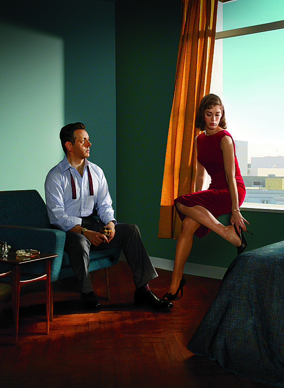 Michael Sheen as Dr. William Masters and Lizzy Caplan as Virginia Johnson in Masters of Sex (season 2)