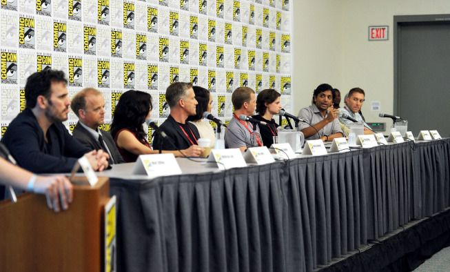 Cast members Matt Dillon, Toby Jones, Carla Gugino, Reed Diamond, Shannyn Sossamon, Tim Griffin, Charlie Tahan and Executive Producers M. Night Shyamalan and Donald De Line during the WAYWARD PINES panel on Friday, July 25 at the FOX FANFARE AT SAN DIEGO COMIC-CON