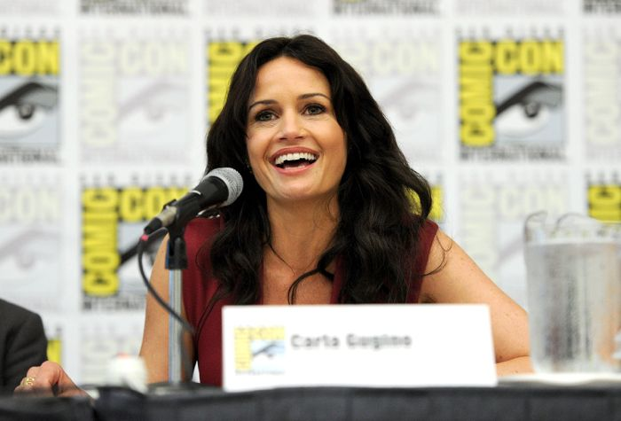 Cast member Carla Gugino during the WAYWARD PINES panel on Friday, July 25 at the FOX FANFARE AT SAN DIEGO COMIC-CON