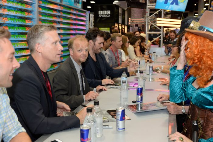 The cast of WAYWARD PINES sign autographs for fans during the WAYWARD PINES booth signing on Friday, July 25 at the FOX FANFARE AT SAN DIEGO COMIC-CON